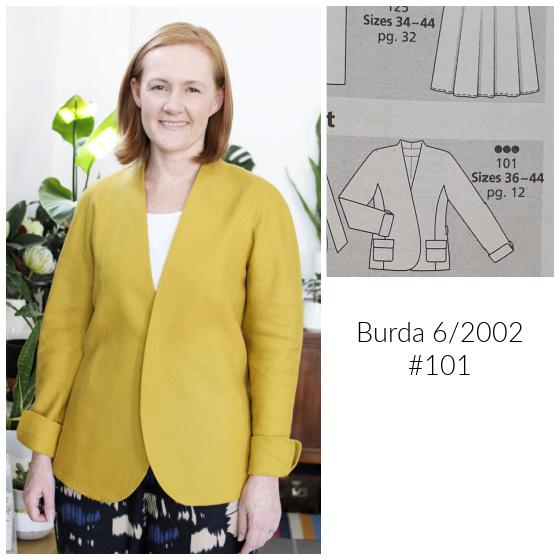Burda 6/2002 #101 chartreuse linen kimono jacket www.loweryourpresserfoot.blogspot.com