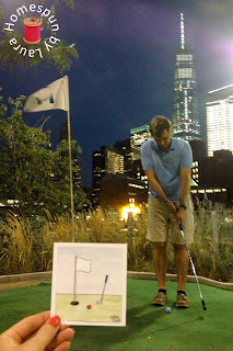 watercolor painting of Mini Golf for Manhattan Youth at Pier 25 in NYC