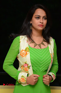 Actress Athidhi D Pictures in Green Dress at Attarillu Movie Press Meet  0016