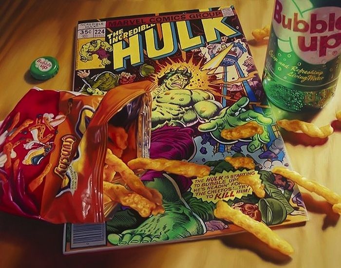 03-The-Incredible-Hulk-Bubble-UP-Doug-Bloodworth-Vintage-Comics-in-Hyper-Realistic-Painting-www-designstack-co