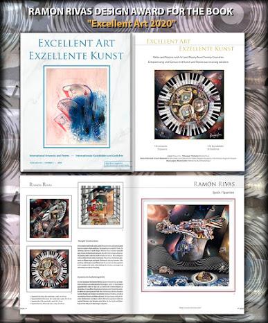 """Libro """"Excelente Arte 2020"""". Página del Título y 4 Obras del artista premiado Ramón Rivas"""