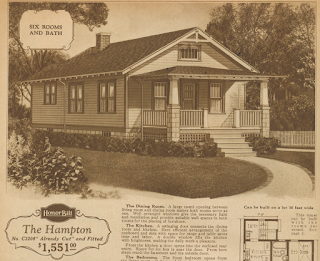 Sears Hampton model in the 1928 Sears Modern Homes catalog