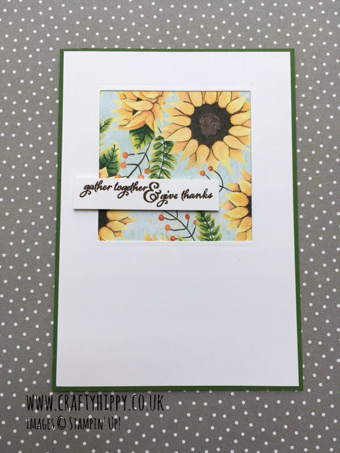 Make a gorgeous sunflower window card using Stampin' Up!'s Painted Autumn Designer Series Paper and Painted Harvest stamp set.