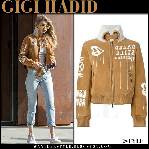 Gigi Hadid in camel suede bomber jacket in new york whata she wore streetstyle