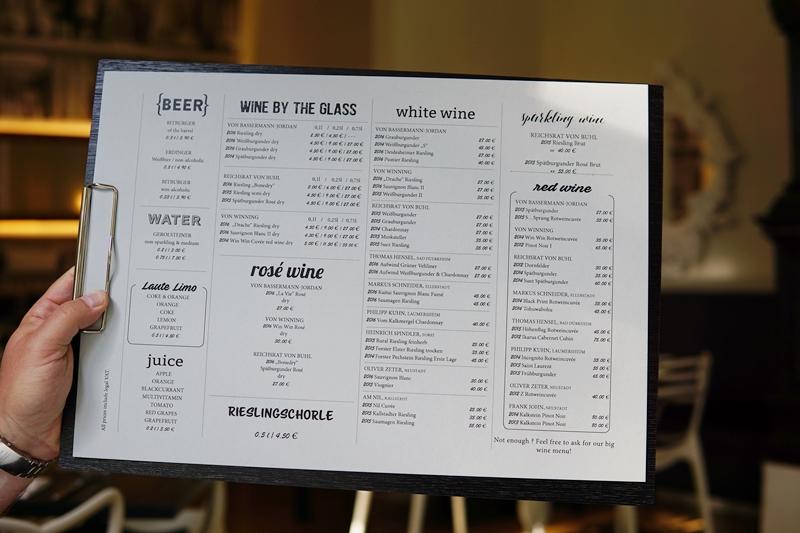 wine menu, deidesheim