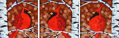 Sienna Sky Cardinals by aaron kloss, painting of cardinals, painting of birch cardinals, pointillism