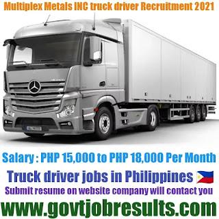 Multiplex Metals INC Truck Driver Recruitment 2021-22