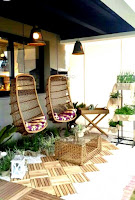 Lovely simple balcony design ideas with hanging chair and wicker glass coffee table