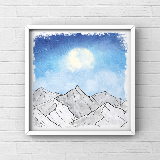 Mountains, artwork, painting,