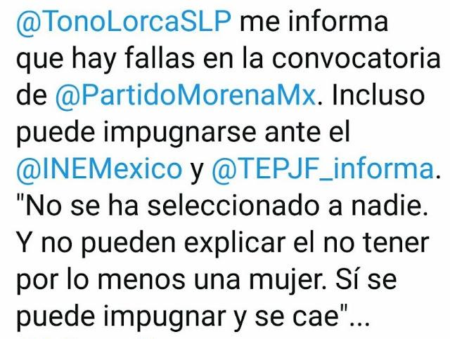 Tuit en donde se atribuyen declaraciones a Antonio Lorca Valle.