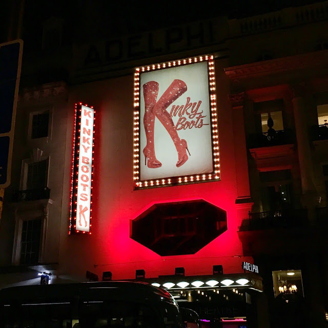 Kinky Boots at the Adelphi Theatre, outside sign