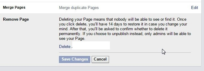 how to delete pages facebook