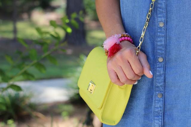 Gigi New York crossbody, tassel bracelets