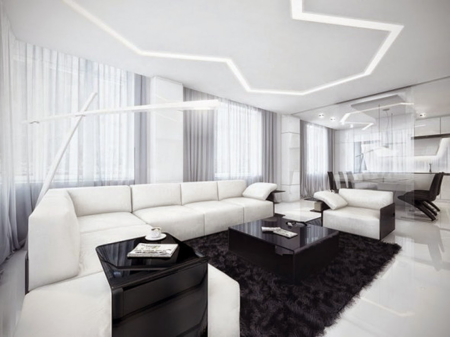 First Black And White Interior Design For Your Living Room Can Be Lied Through The Wall Paint Color Then Combined With Furniture