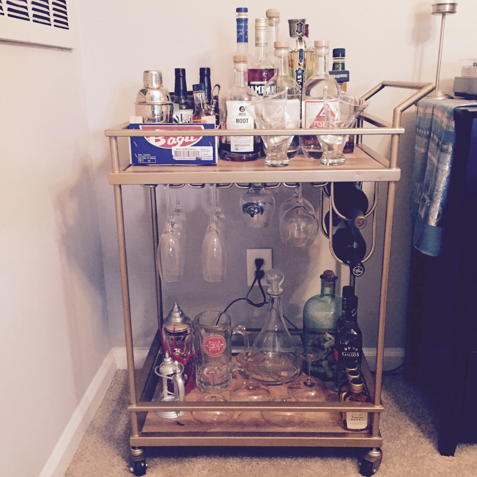 Gold Bar Cart With Wine Rack Home Design Ideas