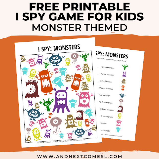 Free I spy game printable for kids: monster themed