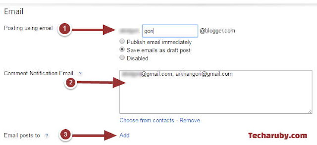 Blogger email settings