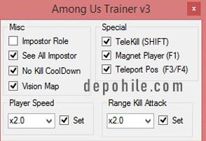 Among Us Optimal v3 Trainer Telekill, Imposter Hilesi Ekim 2020