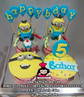 Cupcake Ulang Tahun Minion Lucu set isi 4