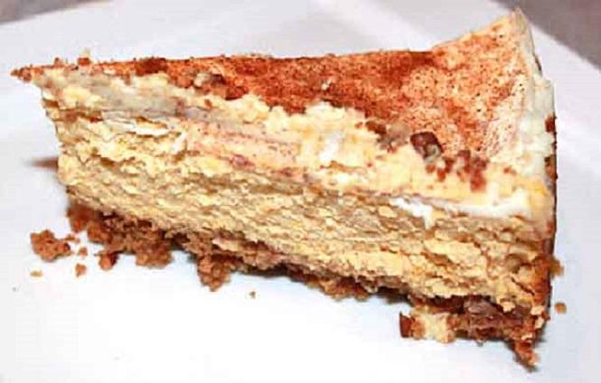 this is a slice of pumpkin fluff pie