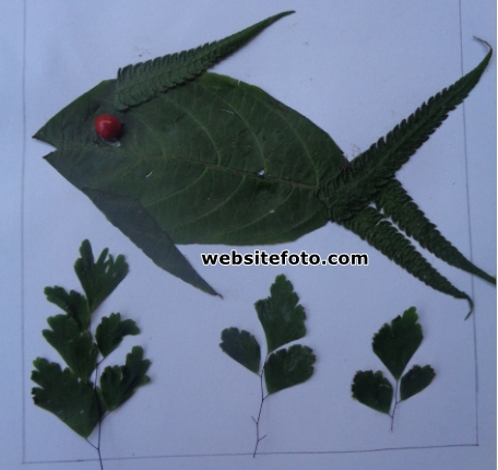 Contoh Mozaik Gambar Ikan dari Daun
