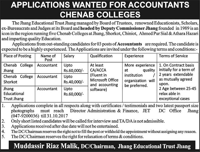 Accountants Jobs in Chenab Colleges Jobs in Jhang