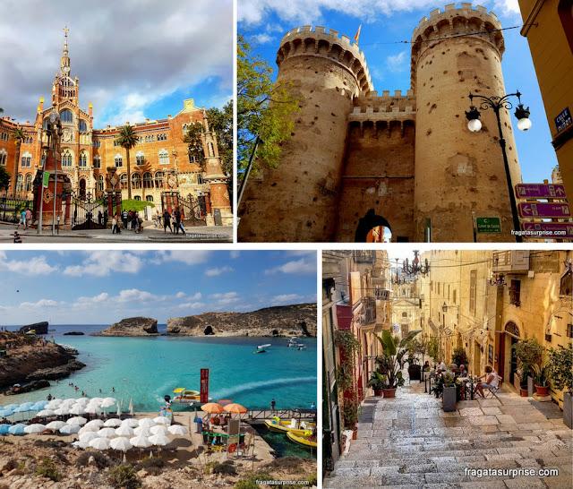 Hospital Sant Pau, em Barcelona, Torre de Quart, em Valência, Lagoa Azul e uma rua de Valeta, em Malta