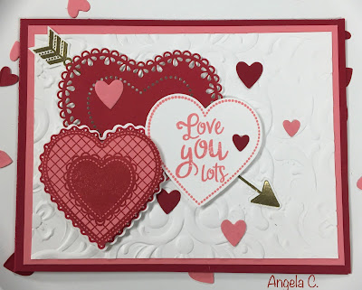 Stampin' Up!, From My Heart Suite, Valentine, www.stampingwithsusan.com, Stitched Be Mine, Embossing Powder,