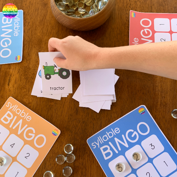 SYLLABLE BINGO GAME - a fun hands-on printable game to help preschoolers and kindergarten aged children master counting syllables correctly | you clever monkey