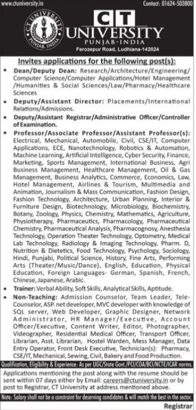 CT University Life Sciences Faculty Jobs 2020