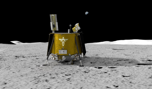 An artist's concept of Firefly Aerospace's Blue Ghost lunar lander on the surface of the Moon.