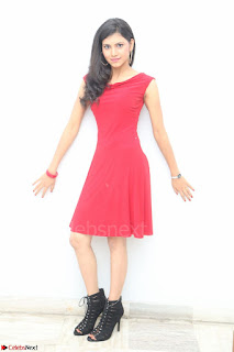 Mounika Telugu Actress in Red Sleeveless Dress Black Boots Spicy Pics 035.JPG