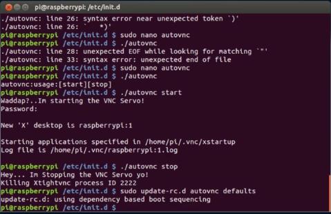 How to write VNC server (Raspberry Pi) startup and VNC