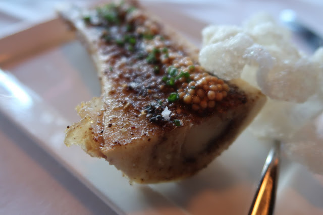 A close up of the Roasted Bone Marrow from One Market Restaurant.