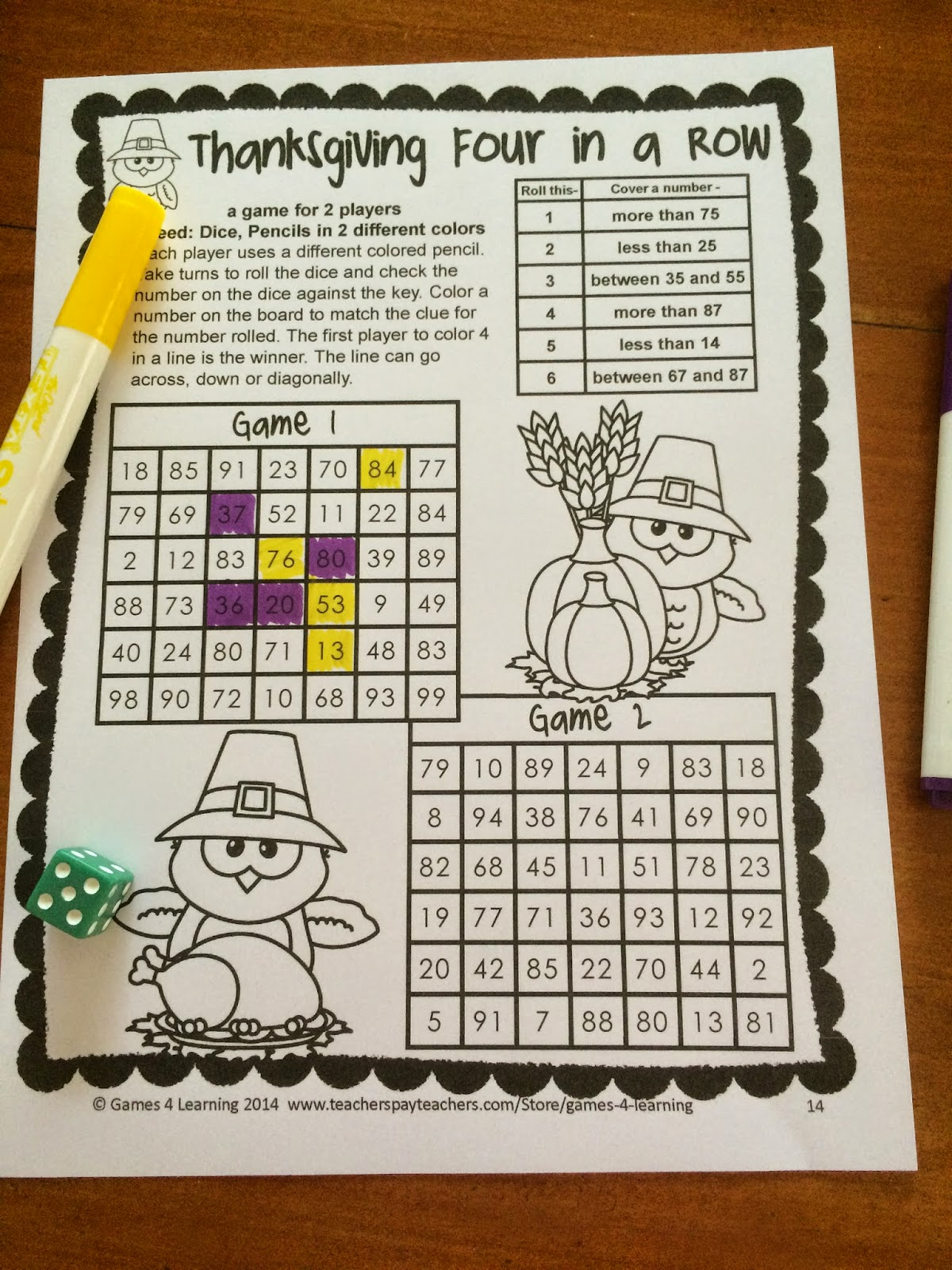 Fun Games 4 Learning Thanksgiving Math Games