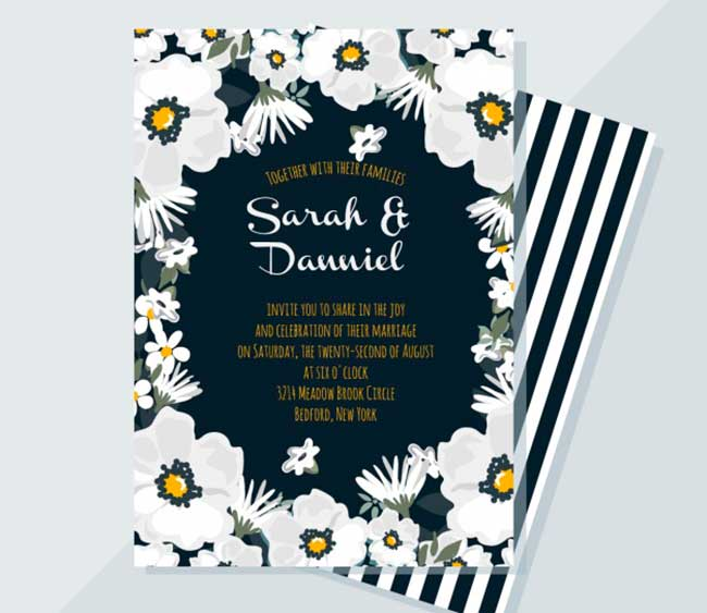 Elegant floral wedding card download