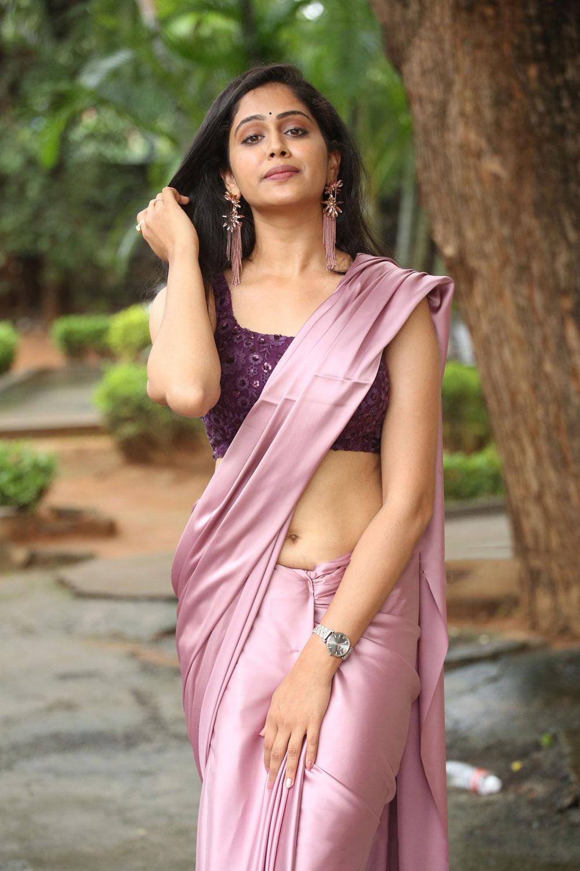 Dipali Sharma in Purple Satin Saree Photos