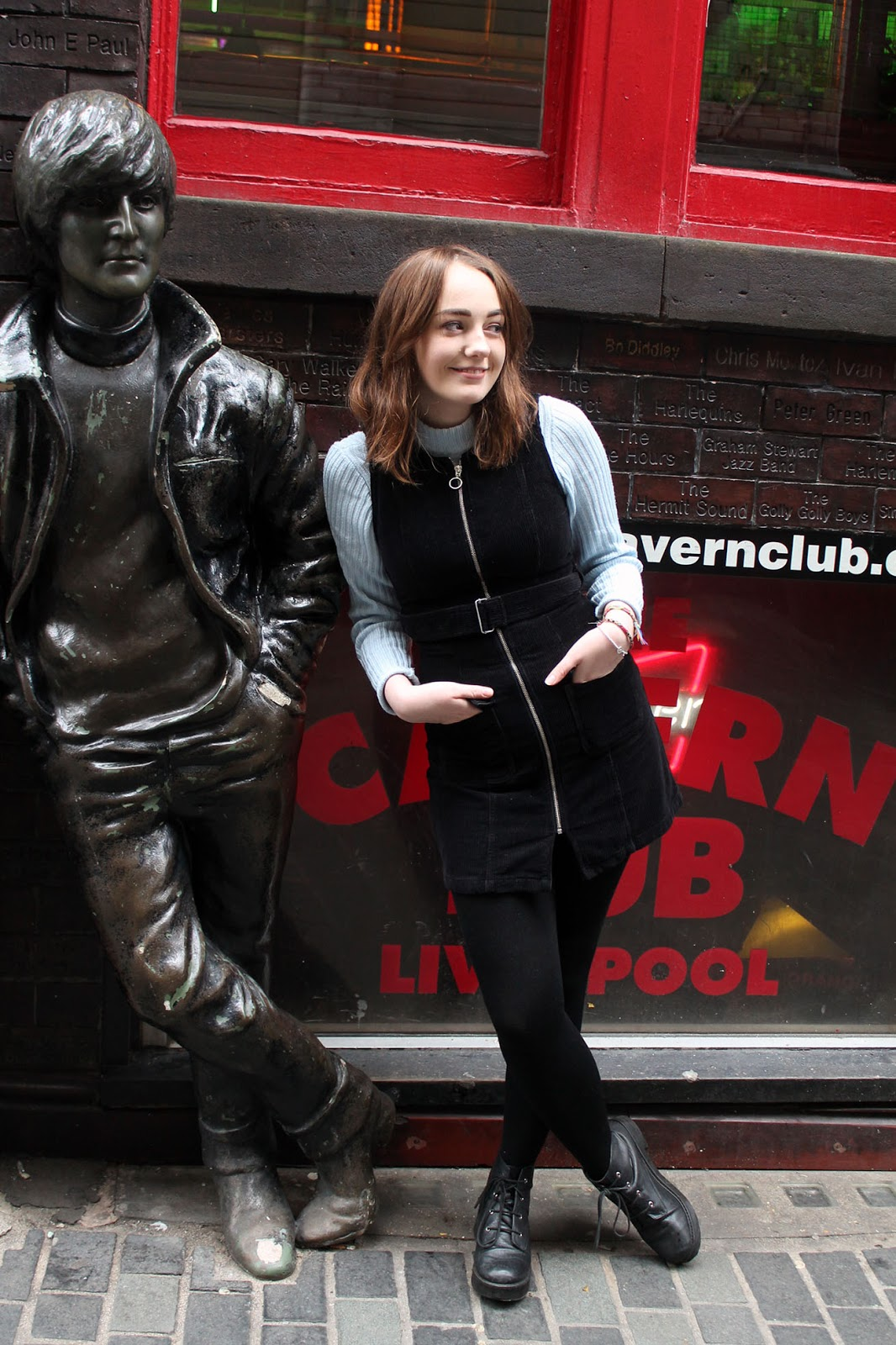 60s mod style at the cavern Liverpool with John Lennon statue