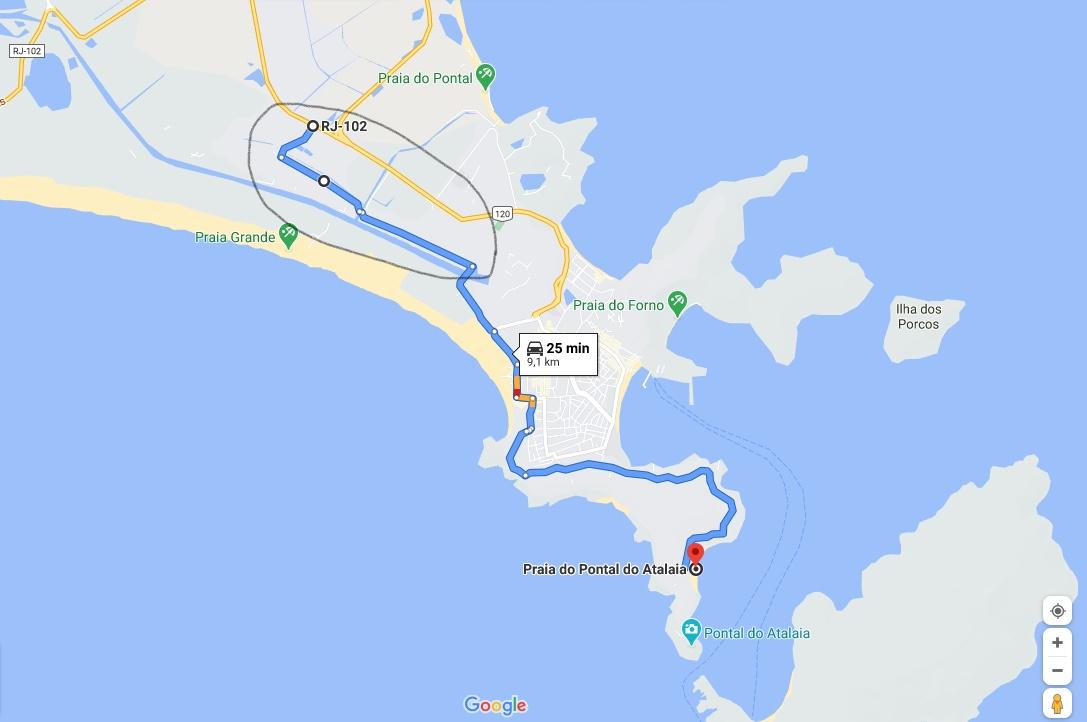 Caminho alternativo Cabo Frio Arraial