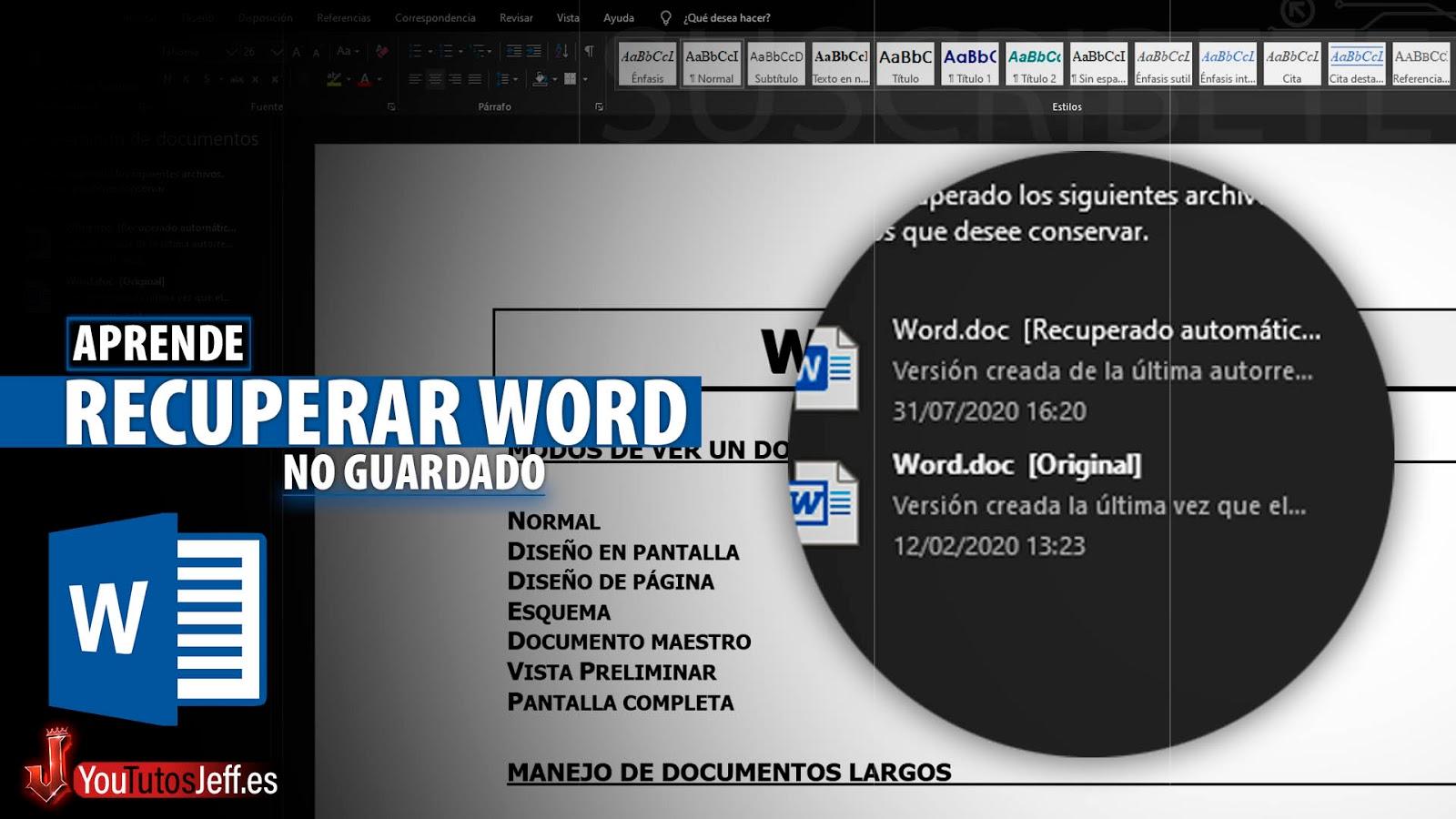 Como Recuperar Archivo Word No Guardado, Recuperar Documento Word