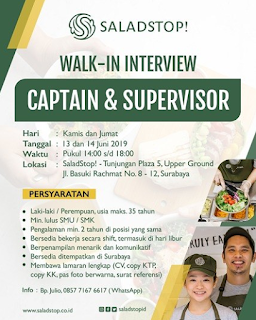 Walk In Interview di Saladstop! Surabaya Terbaru Juni 2019