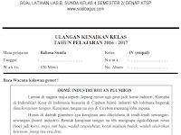 Soal UKK/ UAS Kelas 4 B. Sunda Semester 2/ Genap