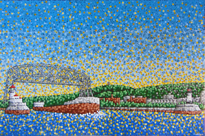 The Next Adventure by Duluth MN artist Aaron Kloss, painting of an ore boat, painting of duluth mn, lakeside gallery duluth, aaron kloss, pointilism