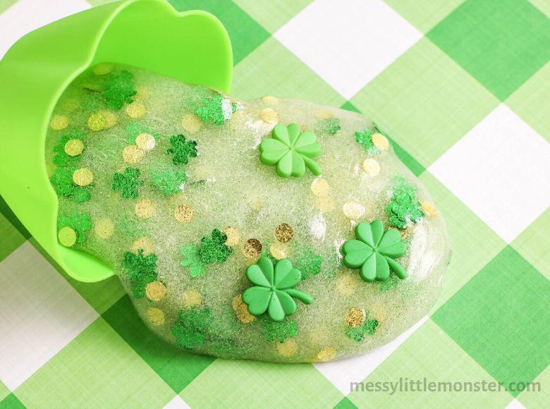 shamrock slime recipe - sensory play recipes for kids