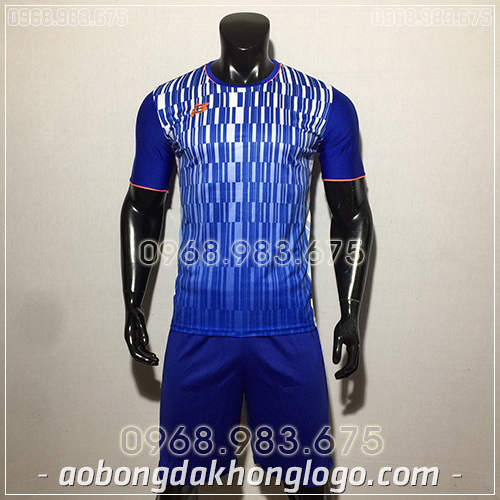Áo bóng đá ko logo ZB màu xanh dương