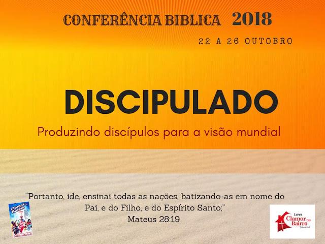 Conferência internacional DISCIPULADO do dia 22/10 a 26/10