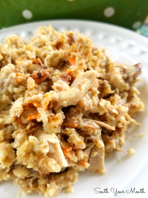 Chicken & Stuffing Casserole with Pepperidge Farm stuffing, sour cream and chicken. #casserole #chicken #easy #sourcream #stuffing