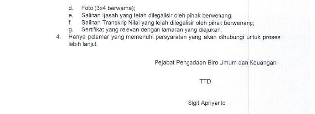 Pengumuman Rekrutmen Jasa Lainnya Sekretaris Dit.Penanganan Permasalahan Hukum LKPP