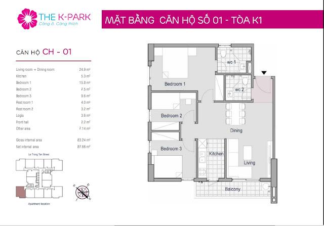 Căn hộ 01, 83m2, 03 phòng ngủ