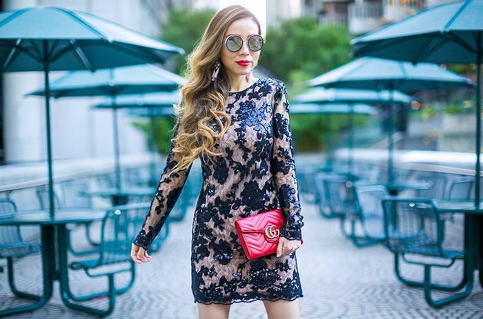 Dress the population grace Sequin Lace Long Sleeve Shift Dress, sequin lace dress, new years eve dress, gucci wallet on the chain, gucci bag, jimmy choo sunglasses, baublebar earrings, christian louboutin heels, new years eve outfit ideas, san francisco fashion blog, san francisco street style